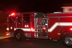 fire trucks lights flashing